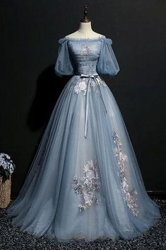 Unique blue gray tulle puffy sleeves long evening dress, Vintage prom dress #promdress #promdresses #weddingdresses #prom #dress