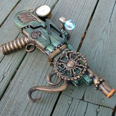 A really cool Steampunk gun on Etsy...Love the colors!...No idea what this is but it looks awesome