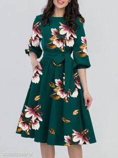 Round Neck Belt Floral Printed Skater Dress Fashion girls, party dresses long dress for short Women, casual summer outfit ideas, party dresses Fashion Trends, Latest Fashion # Women's Dresses, Women's Fashion Dresses, Cute Dresses, Dress Outfits, Casual Dresses, Floral Dresses, Skater Dresses, Sleeve Dresses, Floral Skater Dress