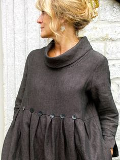 Winter button dress - Charcoal long sleeve dress, cowl collar, empire waist with skirt pleats in front and back, gray buttons on seams at pleats, Old School House