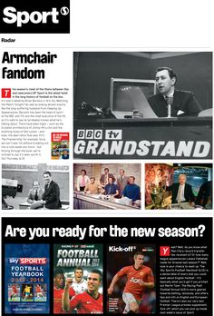 Sport magazine feature Are You Watching the Match Tonight?