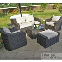Maze Rattan Rounded Garden Sofa Set adds a touch of style to any garden.
