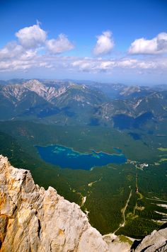 Lake Eibsee from the top of Zugspitze in Germany