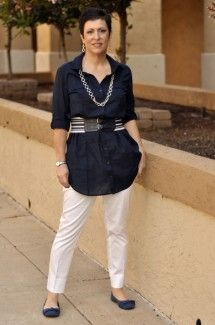 """My Purpose: Today it is white capris. So with summer seemingly right around the corner here are some ideas on the ways to wear those white capris. For the casual I threw on a Shirtdress, bloused it with a belt for a more office friendly look threw on a my fun red Dorothy shoes and a great short navy swing coat. For the night look, you can take a sparkly tank, a jacket, rock it out with a black bootie and some fun jewelry. Have fun with this and Choose everyday to """"Dress With Purpose"""""""