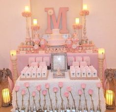 Gorgeous pink First Communion party! See more party planning ideas at http://CatchMyParty.com!