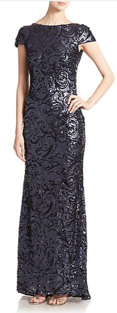 Badgley Mischka Sequined Cowl Back Gown