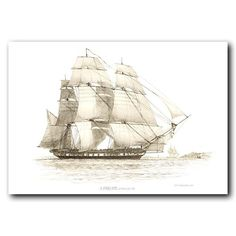 Vintage ship art by Edward William Cooke showing a Frigate under all sail.During the 18th and 19th century chronicles about travel and exploration became popular in Great Britain as new lands were explored and trade routes established.This is a fine art print of an engraving made in 1828 by