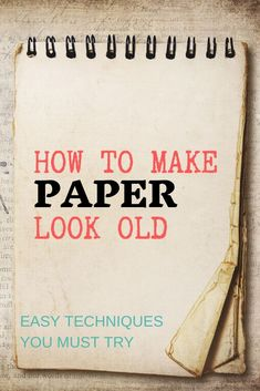 Do you need paper for a vintage craft project? Check out this tutorial on how to make paper look old Craft Projects For Adults, Easy Craft Projects, Fun Crafts For Kids, Arts And Crafts Projects, Craft Ideas, Mixed Media Techniques, Art Journal Techniques, Art Journal Pages, Junk Journal