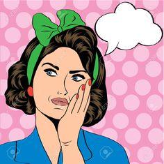 Mujer Retro Lindo En Estilo Cómic, Ilustración Vectorial Ilustraciones Vectoriales, Clip Art Vectorizado Libre De Derechos. Pic 25652162.