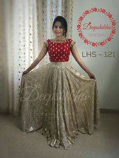 Best 12 Gorgeous gold shade and red color combination floor length dress with floral design hand embroidery work on yoke. Half Saree Lehenga, Lehenga Gown, Frock Dress, Anarkali Dress, Kids Lehenga, Anarkali Suits, Bridal Lehenga, Half Saree Designs, Lehenga Designs