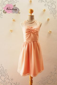 BLOOM : Peach Dress Peach Party Dress Pink Bridesmaid by Amordress