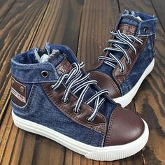 Cute canvas denim high top sneakers for toddler boys. So cute for fall 2014.