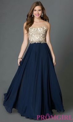 Navy and Ivory Prom Dress