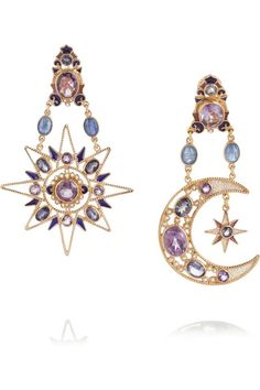 PERCOSSI PAPI Sun and Moon rose gold-plated multi-stone earrings