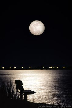 And No One Was There, Empty Bench, Full Moon over the Bay, Film, Double Exposure, Peace, Tranquility, Signed Print, Free Shipping on Etsy, $29.00