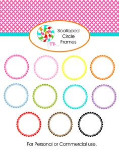 INSTANT DOWNLOAD Scalloped Circle Frames, Digital Scrapbooking Frames Clipart, Personal or Commercial Use