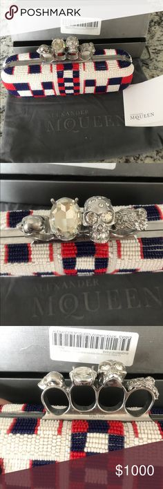 """Beaded Long McQueen Skull Knuckle Clutch Perfect display of patriotism 💀🇺🇸 Long beaded clutch. 9.25""""w x 3.5""""t x 2.25"""" deep. Includes box, duster and care card. A couple (I count possibly 11) missing beads from bottom. 3 missing from top back. Unnoticeable when wearing, but please see photos. These are common seed beads so I also believe they could easily be replaced. $2400 original purchase price. Alexander McQueen Bags Clutches & Wristlets #alexandermcqueenquotes"""