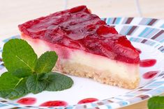 Zdravý jahodový cheesecake Cheesecakes, Tuna, Raspberry, Food And Drink, Fish, Meat, Fruit, Desserts, Fitness
