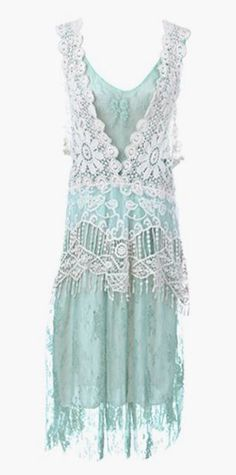 Seafoam Embroidery Detail Lace Ruffle Dress