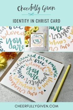 Identity in Christ Scripture Card - send someone this card of encouragement to remind them of their Identity in Christ. Part of a whole series by Cath Sales, this Bible verse card is full of truths about what God says about His children. | £2.95 | FREE UK DELIVERY | Made by Hope and Ginger | Cheerfully Given - Christian Cards UK