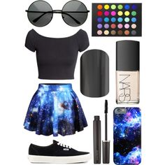 galaxy by chloe-cole823 on Polyvore featuring H&M, Vans and Laura Mercier