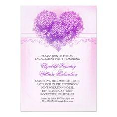 vintage floral heart purple engagement party invitations