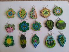 hand-painted earrings green2