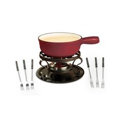 Swissmar KF66517 Lugano 2Quart Cast Iron Cheese Fondue Set 9Piece Cherry Red ** More info could be found at the affiliate link Amazon.com on image.