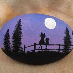 #cats #paintedrocks #moon Gand painted Farm Cats on Stone. #rockinArt58