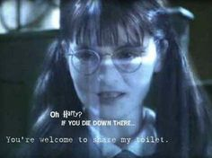 Moaning Myrtle (Shirley Henderson) The ghost of a Muggle-born girl who attended Hogwarts at the same time as Tom Riddle and Rubeus Hagrid. She was murdered by Riddle. Harry Potter Ghosts, Harry Potter Day, Harry Potter Halloween, Harry James Potter, Harry Potter Characters, Hogwarts, Moaning Myrtle, Rubeus Hagrid, His Dark Materials