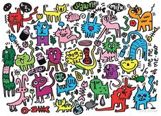 'crazy doodle cat' by Chris olivier Tarot Astrologico, Framed Prints, Canvas Prints, Art Prints, Iphone Wallet, Iphone Cases, Wall Tapestry, Decorative Throw Pillows, Doodles