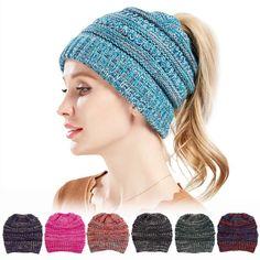 Womens Winter Cotton Knitted Ponytail Beanie Caps Thicken Earmuffs Messy  Bun Hat 664165fb9c5