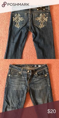 Miss Me Jeans Miss Me Jeans with jeweled cross on pockets. Never worn. Miss Me Jeans Boot Cut