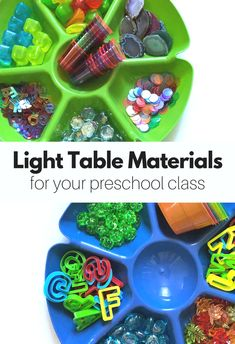 Come see what all these must-have light table materials look like on the light table! Great light table loose parts for preschool.