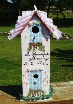 Bird House  Ruffles pinks  white dove  Girly