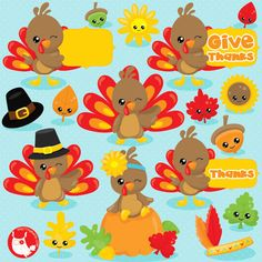80% OFF SALE Thanksgiving clipart commercial use, turkey clipart, kawaii clipart, Fall vector graphics, Thanksgiving digital image - CL1035 by Prettygrafikdesign on Etsy