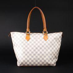 Louis Vuitton - White leather tote in Damier Azur
