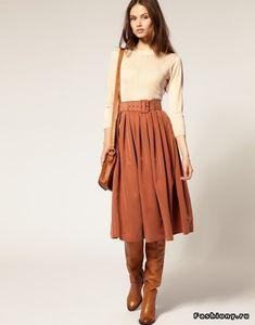Skirt boots Soft Handle Cupro Belted Midi Skirt Saia Midi e botas grossas. Amo este beliscado na cintura. Skirts With Boots, Fall Skirts, Skirt Boots, Fall Dresses, Modest Fashion, Skirt Fashion, Fashion Outfits, Fashion Ideas, Fashion Tips