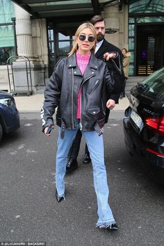 Be a biker babe like Hailey in Balenciagas moto #DailyMail Click to buy now