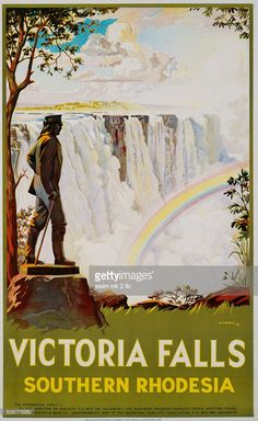 Victoria Falls, Southern Rhodesia Travel Ads, Travel Images, Illustrations, Graphic Illustration, South African Railways, Tourism Poster, Retro Poster, Railway Posters, Vintage Travel Posters