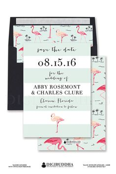 Pink Flamingo Save the Date invitation cards in blush & salmon pink with mint and black accents.  Modern preppy wedding invitations only at digibuddha.com