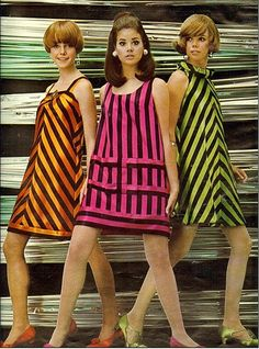 Colleen Corby 60s tent dress stripe green pink orange gold photo color print ad models magazine