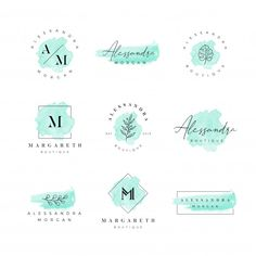 Set Of Needle Bed Sewing Accessories. Kreis Logo Design, Logo Generator, Brand Identity Design, Branding Design, Logo Fleur, Watercolor Logo, Flower Watercolor, Watercolor Painting, Inspiration Logo Design