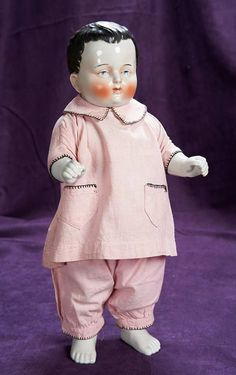 """18"""" (46 cm.) German Bathing Doll with Sculpted Hair Known as """"Frozen Charlotte"""" 300/500"""