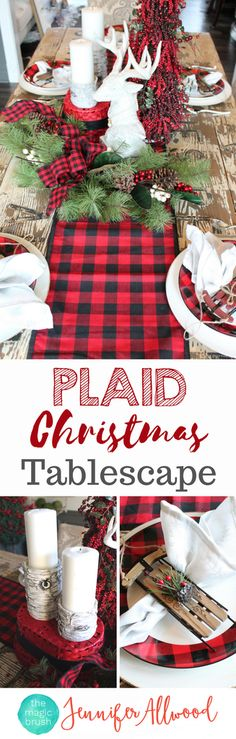 DIY Plaid Tablescape for Christmas Decorating by Magic Brush. These tartan / buffalo check holiday center pieces were less than $100 at Hobby Lobby! Christmas Decorating Ideas