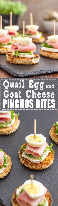These bite size Quail Egg and Goat Cheese Pinchos Bites are perfect for parties or family gatherings! A pincho is a very popular small snack in Spain | happyfoodstube.com
