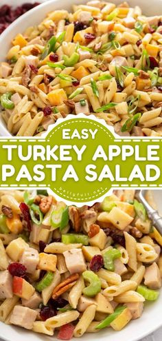 Whip this up this summer dinner recipe! Tossed in a creamy dressing with smoked turkey breast, apples, cranberries, and more, this easy pasta salad recipe is always a crowd-pleaser. Pin this for… Easy Pasta Salad Recipe, Best Pasta Salad, Easy Pasta Recipes, Delicious Dinner Recipes, Side Dish Recipes, Salad With Balsamic Dressing, Healthy And Unhealthy Food, Best Pasta Dishes, Small Pasta