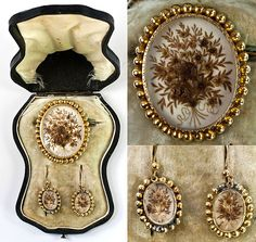 hair work brooch and earrings #jewellery