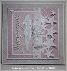 Kortparadis Konfirmasjonskort Konfirmasjon Confirmation North Star Design NSD Handmade Håndaget Scrapping Kortscrapping Jentekort Blomster Gratulerer Gratulasjon Congratulation Card Kort