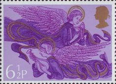 Postage Stamp: Christmas 6.5p Stamp (1975) Angels with Harp and Lute